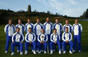 The European team line up for a photograph ahead of the 2014 Ryder Cup at Gleneagles in Scotland